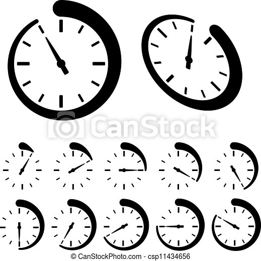 vector round black timer icons - csp11434656