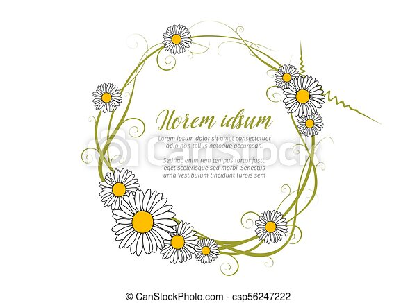 Vector round daisy frame template for your love letter vector ...