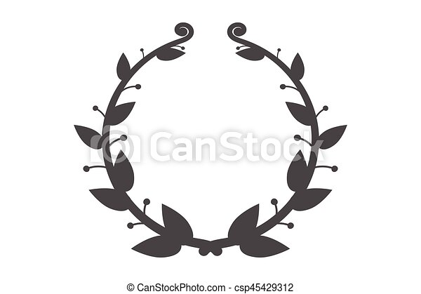 Vector round frame with branch of ivy.