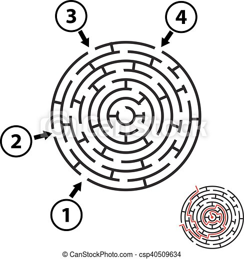Vector round maze / labyrinth. Isolated - csp40509634