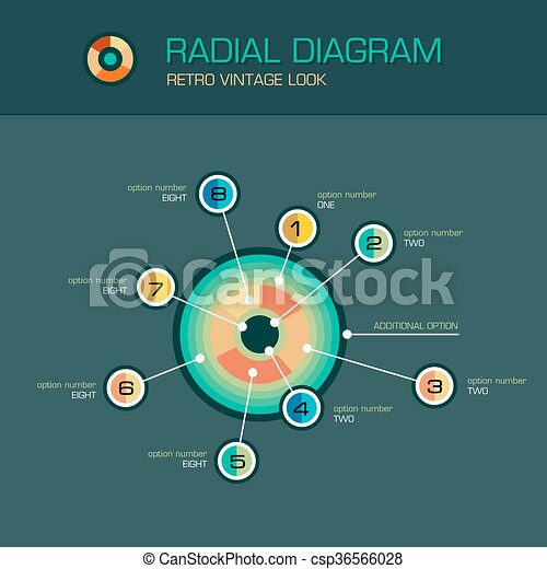 Vector round radial diagram with beam pointers infographic template - csp36566028
