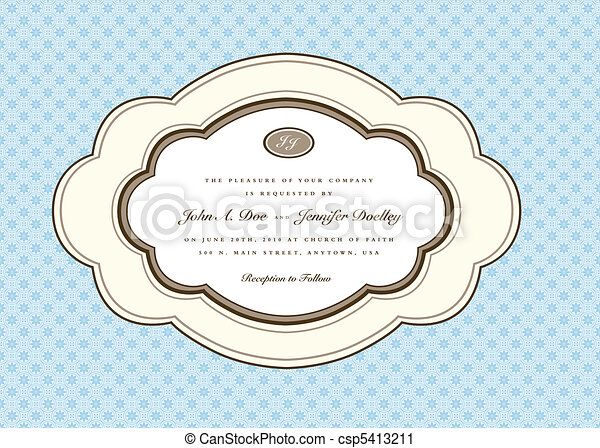 Vector Rounded Oval Frame and Floral Background - csp5413211