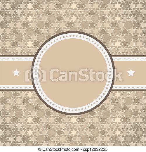 vector rounded retro vintage label on starry background - csp12032225