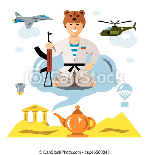 Vector Russian Army in the desert. Flat style colorful Comic Cartoon illustration. - csp46583843