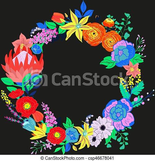 Vector Rustic Flower Wreath - csp46678041