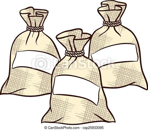Vector sacks of flour, sugar and salt - csp25933095