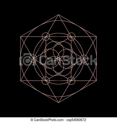 vector sacred geometry symbols with triangle hexagon circle and