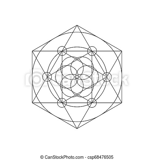 Vector sacred geometry symbols with triangle, hexagon, circle and floral  motif  Mystical geometry symbol