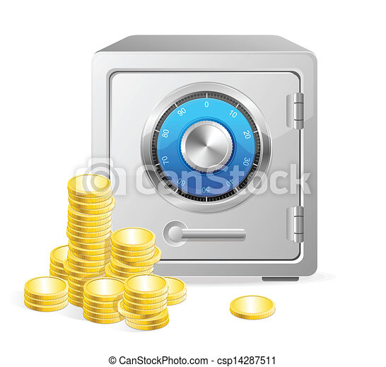 Vector safe with gold coins. - csp14287511