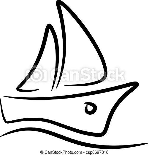 vector sailboat stylized symbol - csp8697818