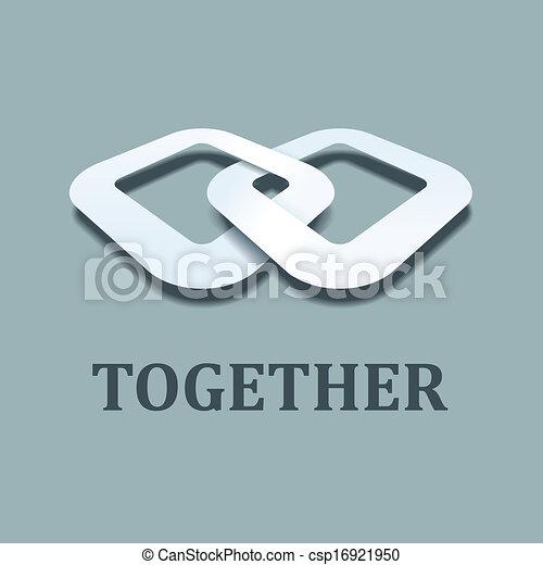 vector, samen, papier, ontwerp, mal, pictogram, 3d - csp16921950
