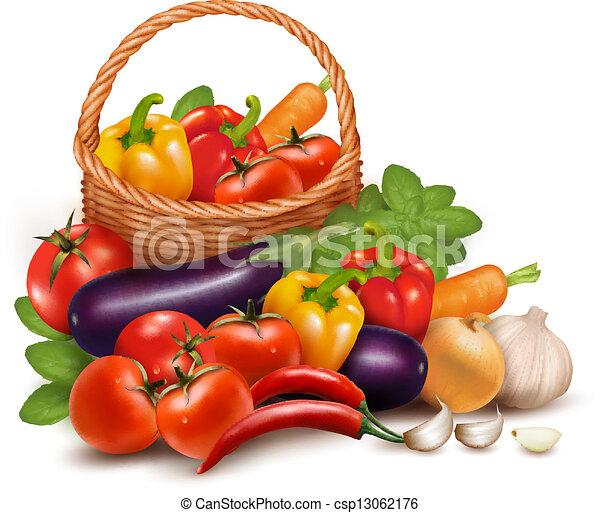Antecedentes con vegetales frescos en la canasta. Comida saludable. Ilustración de vectores - csp13062176