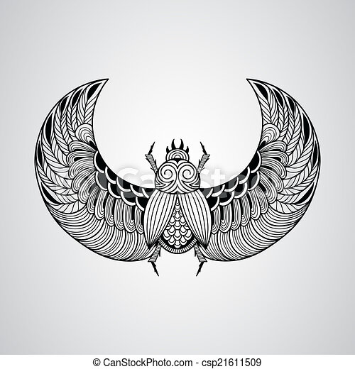 Vector scarab beetle, tattoo style - csp21611509
