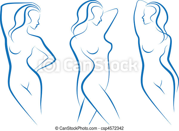 vector, schets, vrouw - csp4572342