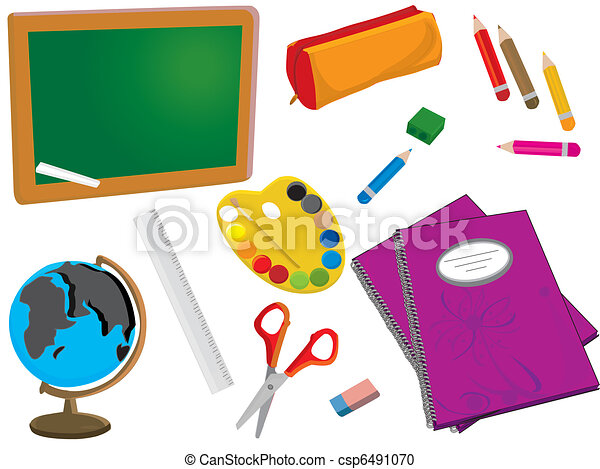 vector school or office supplies vector clipart search rh canstockphoto com office supplies clip art free office supply clip art