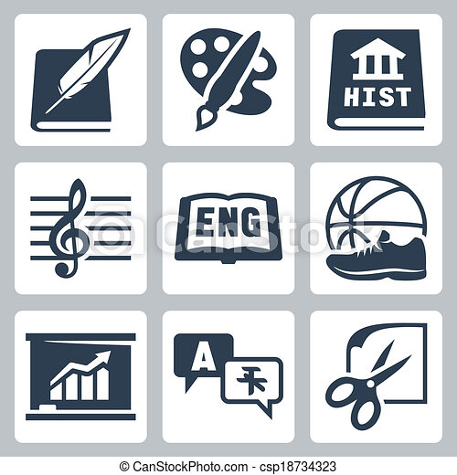 Vector school subjects icons set: literature, art, history, music, english, PE, economics, foreign languages, crafts - csp18734323