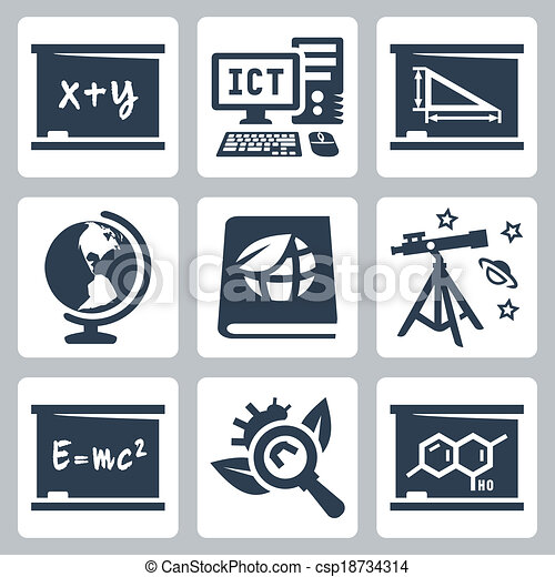Vector school subjects icons set: algebra, ICT, geometry, geography, ecology, astronomy, physics, biology, chemistry - csp18734314