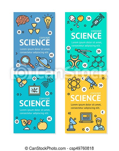 Vector Science Research Flyer Banner Posters Card Set Template