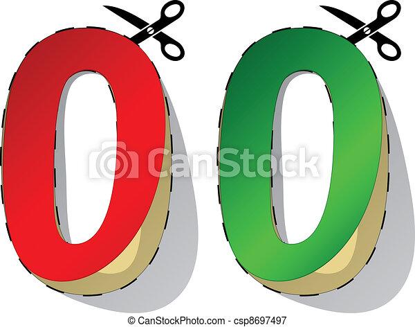 Line Art Zero : Vector scissors cutting zero stickers vectors illustration