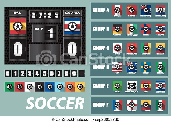 Vector Scoreboard With National Team Flags Template And Set