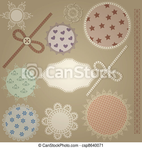 vector scrapbook design elements,  patterns can  be used separately: bows, button, napkins, and border - csp8640071