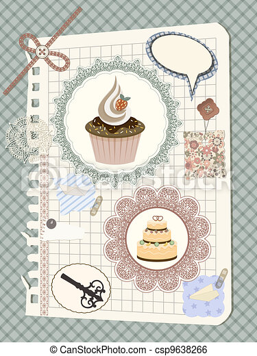 vector scrapbook with nakin and cakes, toys, and other design elements, elements can be used separately, eps 10 transparency effects - csp9638266