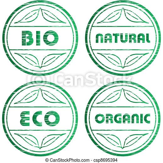 vector scratched eco stamps - csp8695394