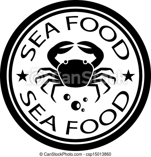 Vector sea food crab stamp.