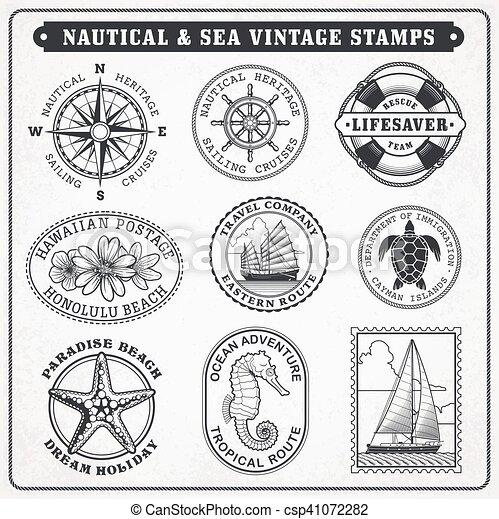 Vector sea journey vintage stamps 2 - csp41072282