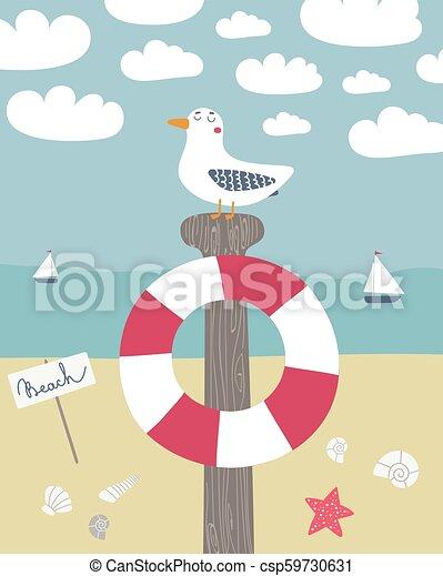 Vector seagull on a pole - csp59730631