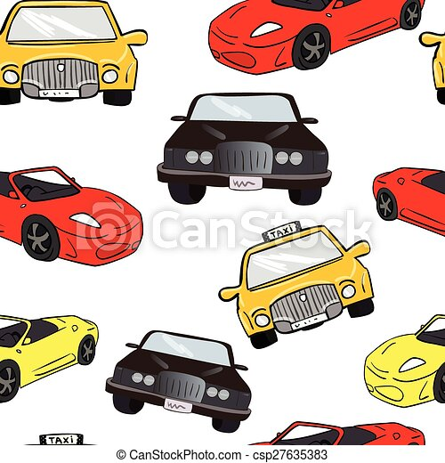 Vector Seamless Background Collorful Cartoon Cars Transport