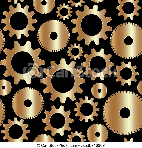 Vector seamless background in tech style with golden gears - csp36716962
