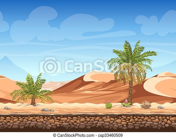 Vector seamless background - palm trees in desert - csp33460509