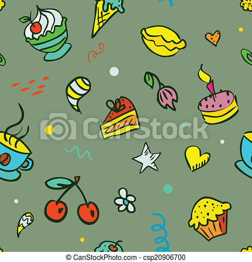 Vector seamless background with sweets - csp20906700