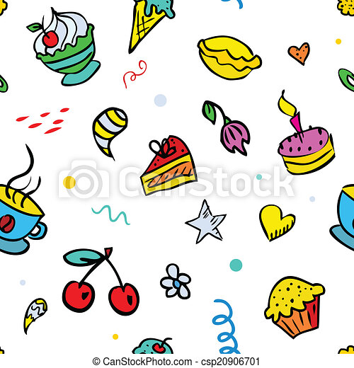 Vector seamless background with sweets - csp20906701