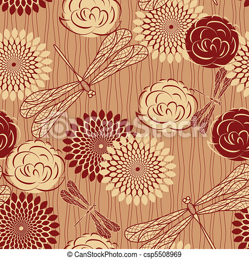 vector seamless background with vintage  flowers and dragonflies. clipping mask - csp5508969