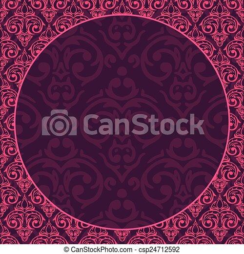 Vector seamless baroque damask luxury background - csp24712592