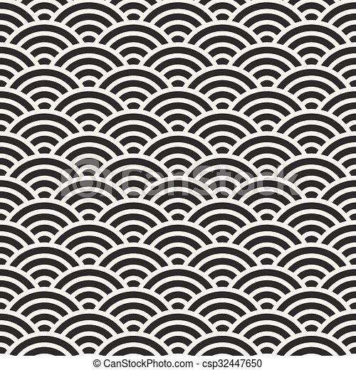 Vector Seamless Black and White Rounded Concentric  Arcs Wi-Fi Sign Pattern - csp32447650