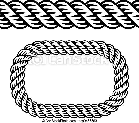 vector seamless black rope symbol - csp9488563