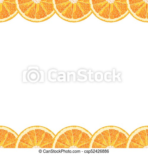 Vector seamless border of orange slice  Citrus background with copy space