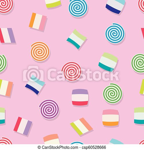 vector seamless candy background pattern - csp60528666