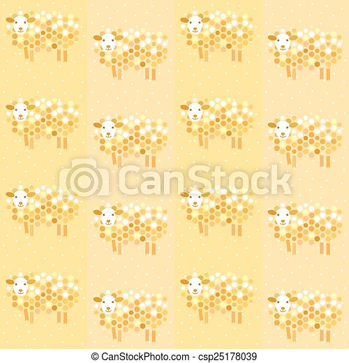 Vector seamless Christmas background. Symbol of the year 2015 sheep.  - csp25178039