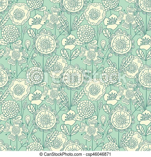 Vector Seamless Colorful Floral Background Hand Drawn Doodle Flowers Pattern For Coloring Book Textile Design Wallpaper Scrapbooking