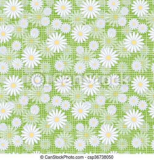 Vector seamless cute beautiful minimalist graphics daisy flower pattern. - csp36738050
