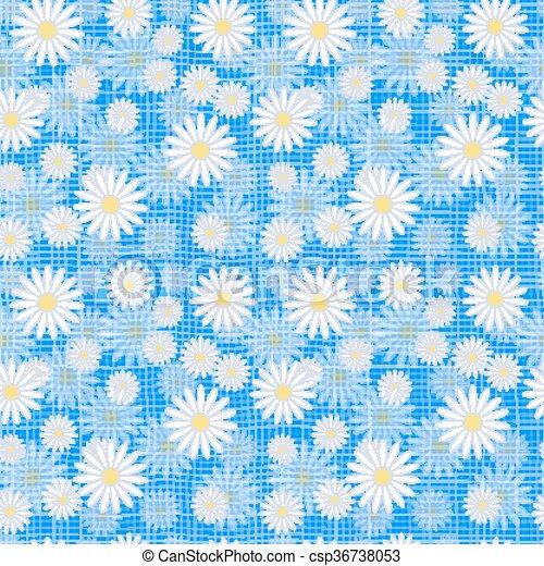 Vector seamless cute beautiful minimalist graphics daisy flower pattern. - csp36738053