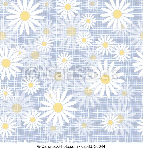 Vector seamless cute beautiful minimalist graphics daisy flower pattern. - csp36738044