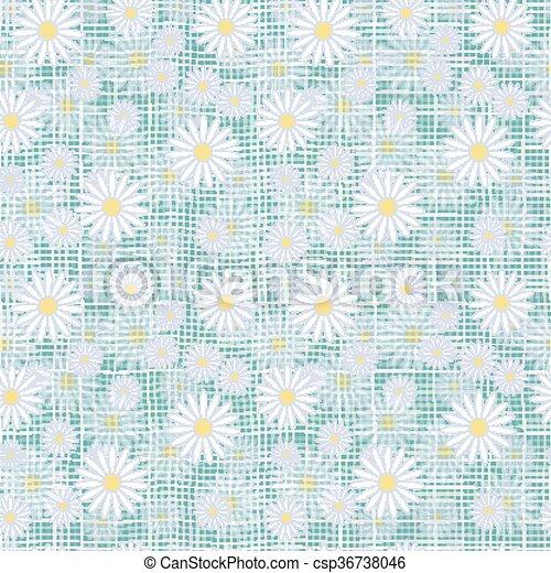 Vector seamless cute beautiful minimalist graphics daisy flower pattern. - csp36738046