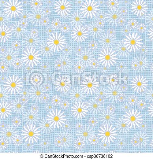 Vector seamless cute beautiful minimalist graphics daisy flower pattern. - csp36738102
