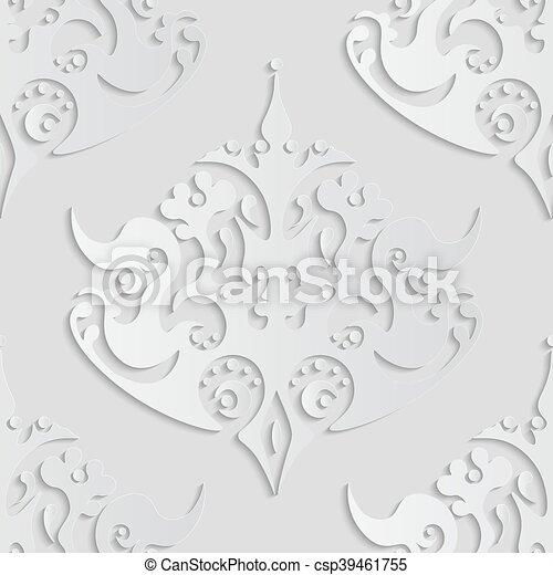 Vector seamless damask pattern. - csp39461755