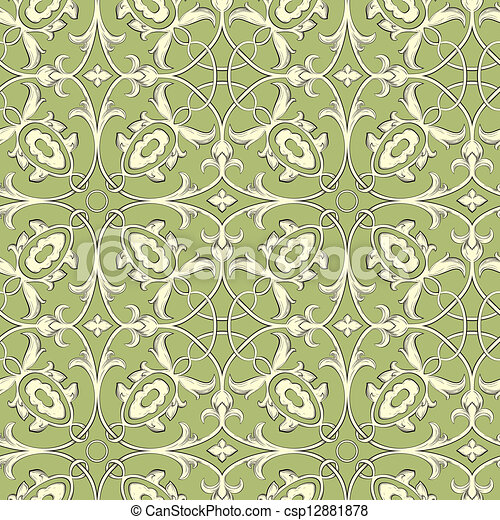 Vector. Seamless damask pattern - csp12881878